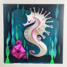 Papercraft seahorse by Brittany Lee - LOVE
