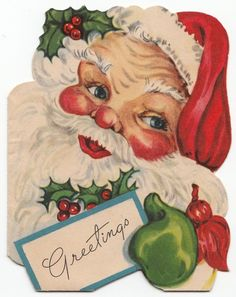 Vintage Greeting Card Christmas Santa Claus Face Head Die-Cut r127