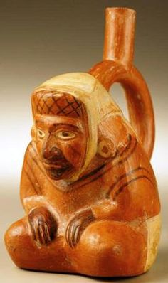ancient peruvian pottery | ancient artifacts, Peru, A stirrup-spout vessel, seated figure form ... Ancient Peruvian, Peruvian Art, Clay Faces, Mesoamerican, Easter Island, Inca, Medieval Art, Ancient Artifacts, Archaeology