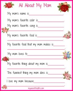 are you looking for a fun mother's day printable that answers the questions we want to know about mom? I've got a free one for you here.
