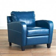 """It says this chair is """"Mallard Green"""" but it looks blue to me. A possible contender for my living room."""