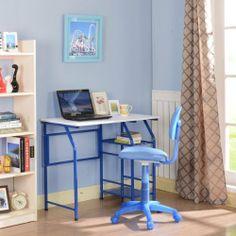 Kings Brand Blue / White Kids Children's Workstation Computer Desk / Table by Kings Brand Furniture. $73.99