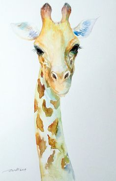 Original Small Watercolor Animal Painting  Giraffe by artiart, $59.00