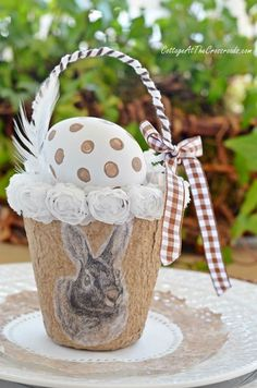 Bunny Peat Pots - the bunnies come from a free printable at http://cottageatthecrossroads.com