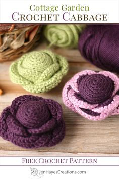 Make your very own Cottage Garden Crochet Cabbage using this free beginner friendly pattern. For extra fun add safety eyes and a cute little smile. Crochet Flower Patterns, Crochet Motif, Crochet Flowers, Free Crochet, Crochet Stars, Crochet Cross, Crochet Granny Square Afghan, Granny Squares, Crochet Food