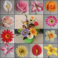 ❀ ✿ ✾ ❁ Crochet Flowers and Applique items. Useful for hats, Teapot cosies and mug snugs. And anything else you want to fancy up a bit Crochet flowers ♪ ♪ ... #inspiration_crochet #diy GB