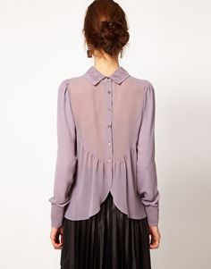 warehouse lace collar blouse with button back from asos ~ This would be beautiful in handkerchief linen :-)