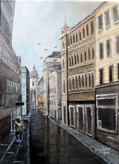 Buy Olofsgatan After the Rain, Acrylic painting by Sally Usher on Artfinder…