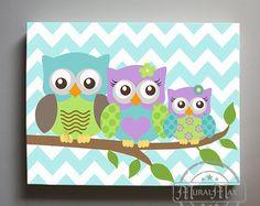 Owl Family Canvas Art for Nursery in Pink - Owl canvas art - Owl Nursery - Owl Childrens Art - Childrens Room -Nursery wall art Baby Owl Nursery, Owl Nursery Decor, Baby Owls, Owls Decor, Elephant Nursery, Owl Canvas, Nursery Canvas, Nursery Wall Art, Canvas Art