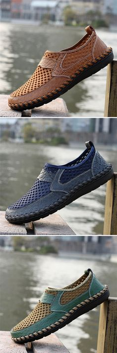 Men Stitching Honeycomb Mesh Slip On Loafers Breathable Outdoor Casual Shoes
