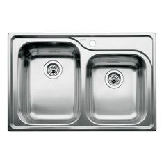 Blanco 510-885 Supreme 1-3/4 Double Bowl Drop-In Kitchen Sink, Satin Polished Finish