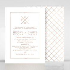 Modern gesteppt zweiseitige Hochzeitseinladung Folie Stempeln