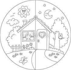 Day and Night Coloring Pages for Kids Colouring Pages, Coloring Books, Colouring Sheets, Islam For Kids, Kindergarten Worksheets, Art Classroom, Pre School, Preschool Crafts, Preschool Activities