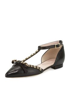 becca+jeweled+t-strap+ballerina+flat,+black+by+kate+spade+new+york+at+Neiman+Marcus.