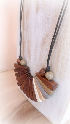 Wood bib choker Wood anniversary gift Wooden necklace Boho choker Gift for women Unique handmade wood jewelry Ceramic Necklace, Wooden Necklace, Wooden Jewelry, Resin Jewelry, Leather Jewelry, Jewelry Crafts, Beaded Statement Necklace, Boho Necklace, Unique Necklaces