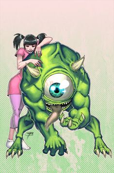 Grown-Up Boo & Mike - Monsters Inc. - line art: Royce Southerland, color: Joshua Ravello
