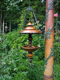 Beautiful bird feeder in the garden