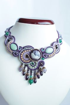 Purple soutache necklace. €50.00, via Etsy. Love this and all of the other jewelry by this lady!