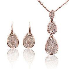 DUMAN 18 k plaqué or Rose Cristal Swarovski Collier et Boucles d'oreille de bijoux de mode
