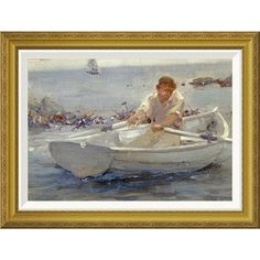 "Global Gallery 'Man In a Rowing Boat' by Henry Scott Tuke Framed Painting Print Size: 21.29"" H x 28"" W x 1.5"" D"