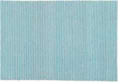 """blue view.  Micro-weave of recycled silk and cotton steps lively in an optic expanse of sea tones.  Handwoven on a traditional paddle loom, precise rows of bright blue diamonds echo across natural wool, creating an geometric landscape of color and pattern. How will it look in your room? 12""""x12"""" rug samples are available in stores for a fee refundable upon return of the sample. Handmade on a paddle loomWool; recycled silk; cottonMade in India."""