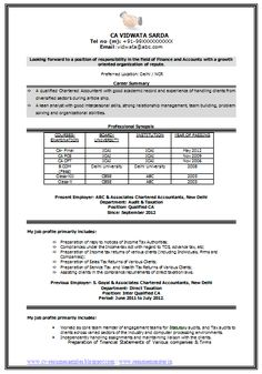 Sample Template Of An Excellent Experienced Chartered Accountant Resume  Sample With Great Career Objective And Job