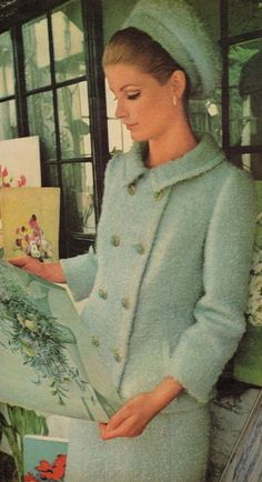McCall's, 1965 mid century modern MCM boucle wool dress suit skirt jacket double breasted matching hat white baby blue 60s model magazine