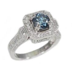 14K White Gold 1.01Ct Blue Diamond Ladies Ring