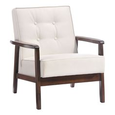 With a solid rubberwood frame, the versatile Aventura Chair is a subtle prescence in any room. It has a white leatherette cover with a warm walnut toned frame.