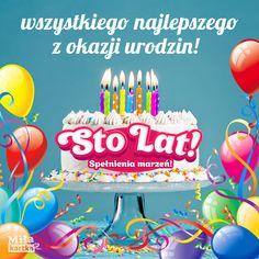 Kartki urodzinowe. Wszystkiego najlepszego – Kartka 100 Lat. #Stolat #urodziny #życzenia #urodzinowe #święto #kwiaty #impreza #100lat #kartki #polska #happybirthday #birthday #poland Birthday Greetings, Birthday Wishes, Happy Birthday, Room Wall Colors, Special Day, Birthday Candles, Impreza, Desserts, Cards