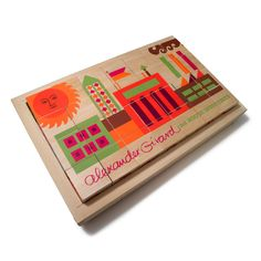 Can fierce fonts find graphic-print fame? Yes indeed. Master font designer and creator House Industries takes typography to new heights and new objects. As part of a collaboration with the estate of Alexander Girard, this set of wood alphabet blocks features the Alexander Girard font collection and an adapted House Industries factory logo puzzle. Perfect for coffee table decoration, or the child who cares more about kerning than building castles.