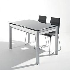 Mesa de cocina extensible de cristal con cajón Urban