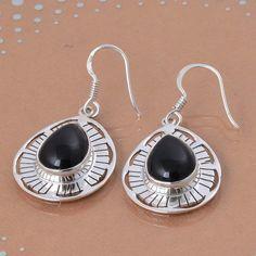 EXCLUSIVE 925 FINE STERLING SILVER BLACK ONXY EARRING 7.19g DJER3031 #Handmade #EARRING