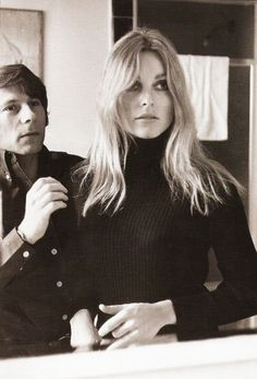 Roman Polanski and Sharon Tate, 1960s. (whilst she was pregnant she was murdered by the Manson family at their home with a knife)