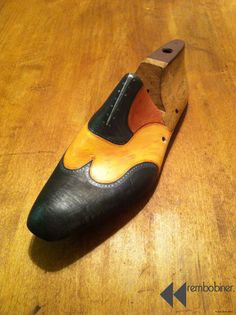 hand painted shoe last by rembobiner on Etsy,