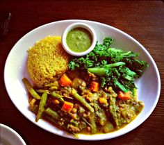 Curry India Vegetable Plate from Mana Farm to Table: Where Vegans and Pescetarians Graze