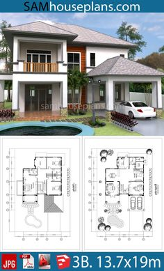 House Plans with 3 Bedrooms. This villa is modeling by SAM-ARCHITECT With 2 stories level. It's has 3 Bedroom House Three Bedroom House Plan, Cottage Style House Plans, Duplex House Plans, Modern House Plans, Small House Plans, House Floor Plans, Dream Home Design, Home Design Plans, House Design