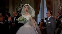 Audrey Hepburn in Funny Face ~ gown and hooded veil designed by Hubert de Givenchy. Movie Wedding Dresses, Celebrity Wedding Dresses, Wedding Movies, Celebrity Weddings, Wedding Gowns, Wedding Veil, Audrey Hepburn Wedding Dress, Audrey Hepburn Funny Face, Funny Dresses