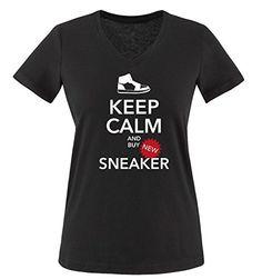 Comedy Shirts - KEEP CALM and buy SNEAKER - mujer V-Neck T-Shirt camiseta - negro / blanco-rojo tamaño S #regalo #arte #geek #camiseta