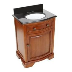 Pegasus Manchester 24 in. W x 18 in. D Vanity in Mahogany with Granite Vanity Top in Black with White Basin PEG-MANV-2418BN at The Home Depot