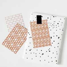 patterned gift tags, coral pink