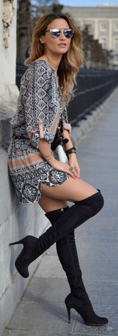 Printed Dress Boho Chic Style | re-pinned by http://www.wfpblogs.com/category/rachels-blog/
