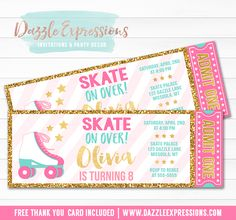 Printable Pink and Gold Roller Skating ticket birthday invitation | Roller Blades | Skate Park | Digital File | Girls Birthday Party Idea | Rollerskating | Skate | FREE thank you card | Party Package Available | Banner | Cupcake Toppers | Favor Tag | Food and Drink Labels | Photo Props | Signs | Candy Bar Wrapper | www.dazzleexpressions.com