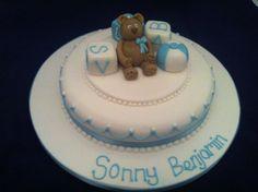Bear and blocks christening cakes