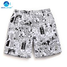 Sungas de praia homens boxer print cartoon bermuda surf mens swimming trunks boardshorts sweat beach fitness bodybuilding gym A5