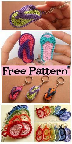 Adorable Crochet Slipper Keychain - Patrones gratis y video Crochet Gratis, Crochet Amigurumi, Crochet Baby, Free Crochet, Knit Crochet, Baby Knitting Patterns, Crochet Patterns, Amigurumi Patterns, Baby Patterns