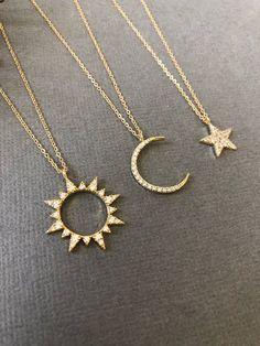 Celestial Sun & Moon Necklace Sun necklace Moon necklace Moon and Sun Dainty Min. - Celestial Sun & Moon Necklace Sun necklace Moon necklace Moon and Sun Dainty Minimalist Jewelry Moon and sun gift for her Source by - Diamond Pendant, Diamond Jewelry, Gold Jewelry, Jewelry Box, Jewelery, Jewelry Accessories, Jewelry Necklaces, Gold Bracelets, Diamond Earrings