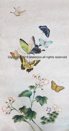 Korean Painting, Japanese Painting, Chinese Painting, Butterfly Painting, Butterfly Art, Persian Pattern, Chinoiserie Wallpaper, Japan Art, Art Pictures