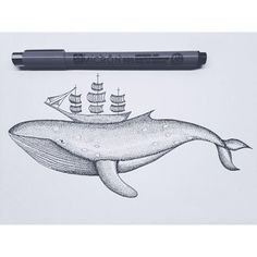 Whale-boat and dotwork - ©Marion Blanc https://www.facebook.com/pages/Paulina/404550229628148