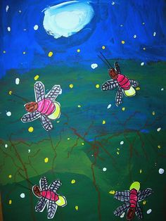 Moonlit Fireflies-use glow in the dark paint for their bottoms!-Eric Carle
